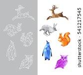 low polygon animals. triangular ... | Shutterstock .eps vector #541217545