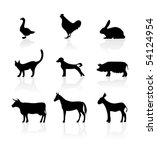 vector animal silhouette icon... | Shutterstock .eps vector #54124954