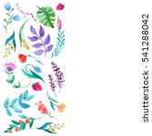 watercolor pattern with flowers ... | Shutterstock . vector #541288042