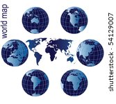 set of earth globes and world... | Shutterstock .eps vector #54129007