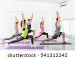 group of people practicing yoga ... | Shutterstock . vector #541313242