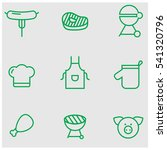 barbecue green line icons | Shutterstock .eps vector #541320796