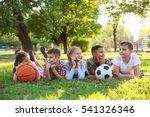cute kids with sport balls on... | Shutterstock . vector #541326346