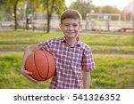 cute boy with basketball ball...   Shutterstock . vector #541326352