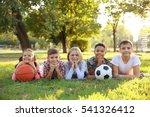 cute kids with sport balls on... | Shutterstock . vector #541326412