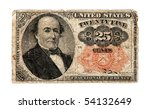 UNITED STATES - CIRCA 1874: Twenty five cent fractional paper currency first issued in the U.S. during the civil war due to a shortage of precious metals.  This 25 cent note was in circulation from 1874 to 1876. - stock photo