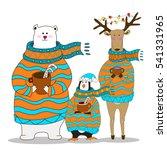 penguin with bear and deer.... | Shutterstock .eps vector #541331965