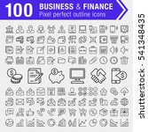 set of 100 thin line finance ...