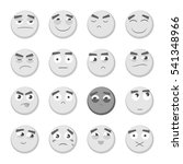 monochrome emoticon set.... | Shutterstock . vector #541348966