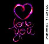 glow heart on backdrop. shine... | Shutterstock . vector #541351522