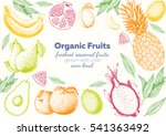 fruits top view frame with... | Shutterstock .eps vector #541363492