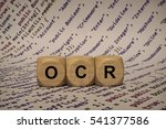 Small photo of ocr - cube with letters and words from the computer, software, internet categories, wooden cubes
