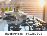 Boiling Water In The Pot On Th...