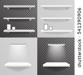white shelf hanging a wall with ... | Shutterstock .eps vector #541390906