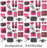seamless pattern with fashion... | Shutterstock .eps vector #541401466