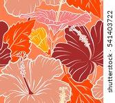 multicolored hibiscus pattern... | Shutterstock . vector #541403722