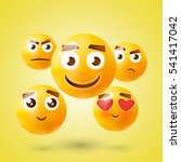 yellow emoticon set. collection ... | Shutterstock . vector #541417042