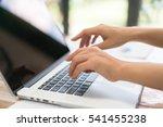 closeup of business woman hand... | Shutterstock . vector #541455238
