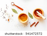 spices in wooden bowl white... | Shutterstock . vector #541472572