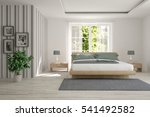 white bedroom with green... | Shutterstock . vector #541492582