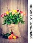 roses in the sack on wooden... | Shutterstock . vector #541536808