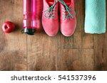 fitness equipment on wooden... | Shutterstock . vector #541537396