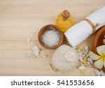 spa set on wooden background... | Shutterstock . vector #541553656