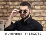bearded young man with... | Shutterstock . vector #541562752