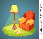 armchair with pillows  green... | Shutterstock .eps vector #541591552
