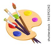 isolated artist palette with... | Shutterstock .eps vector #541592242