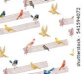 watercolors birds seamless... | Shutterstock . vector #541594072