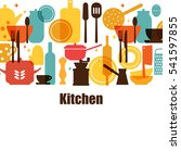 vector set of kitchen utensils... | Shutterstock .eps vector #541597855