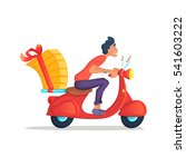 delivery boy ride scooter... | Shutterstock .eps vector #541603222