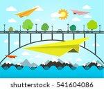 landscape with paper plains....   Shutterstock .eps vector #541604086