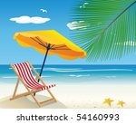 chaise lounge on a beach | Shutterstock .eps vector #54160993