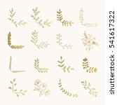 set of golden floral corners.... | Shutterstock .eps vector #541617322