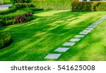 pathway in garden  green lawns... | Shutterstock . vector #541625008