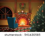 christmas decorated interior | Shutterstock .eps vector #541630585