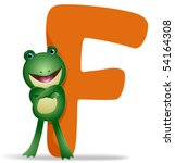 F for Frog - Vector - stock vector