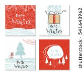 set of 4 cute unique cards with ... | Shutterstock .eps vector #541643962