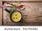 corn soup in bowl on wooden | Shutterstock . vector #541704382