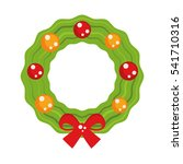 christmas wreath with red bow.  ...   Shutterstock .eps vector #541710316