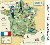 cartoon map of france.   Shutterstock . vector #541723405