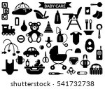 baby care supplies silhouettes  ...