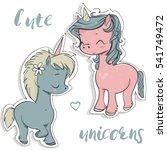 pink and blue cartoon unicorns | Shutterstock .eps vector #541749472