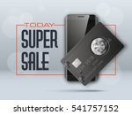 banner with smartphone   credit ... | Shutterstock .eps vector #541757152