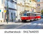 Old Tram In Prague In A...