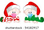 Two Cute Babies With Christmas...