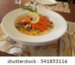 smoked salmon pasta white sauce ... | Shutterstock . vector #541853116