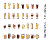 Beer in glasses and mugs with foam. Vector icon set